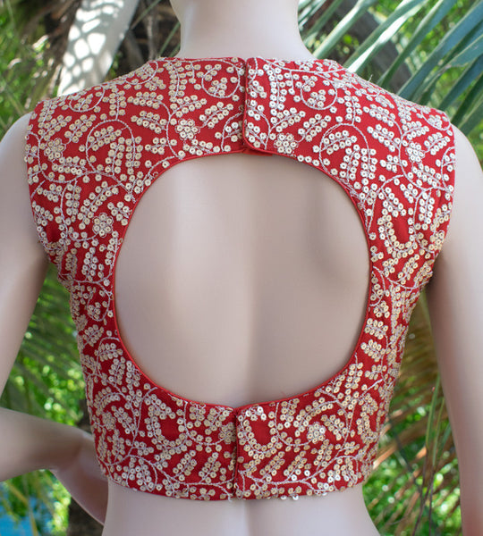 Red saree blouse with round back