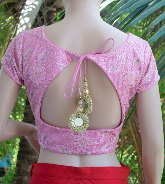 Pink net saree blouse