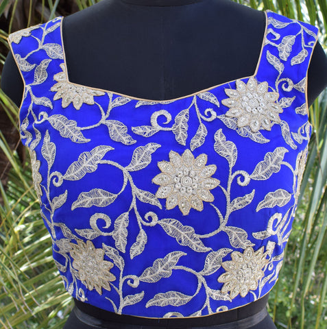 Vibrant blue saree blouse with net back