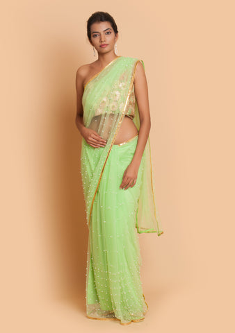 Lime Green Net Saree Embellished with Pearls