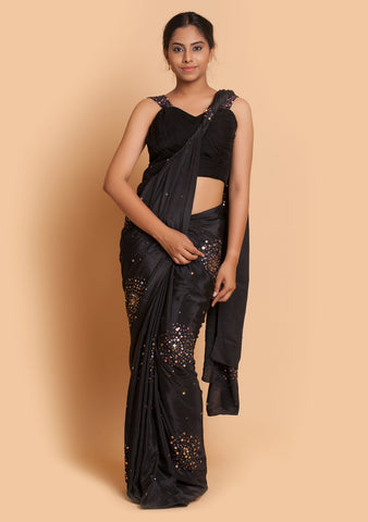 Black Saree & Blouse with Embroidery