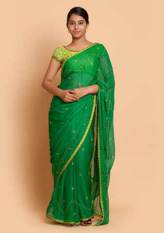 Green Embroidered Saree & Blouse