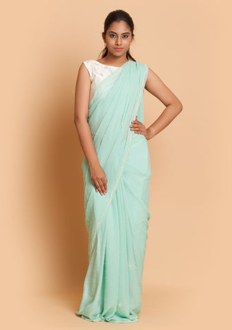 Mint Embroidered Saree & Blouse