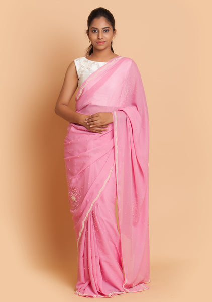 Pink Embroidered Saree & White Blouse