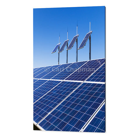 1855 solar panel electricity energy array under a blue sky acrylic wall art photo print