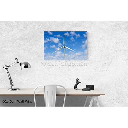 3132 wind turbine from a wind farm spotted clouds wall art photo print