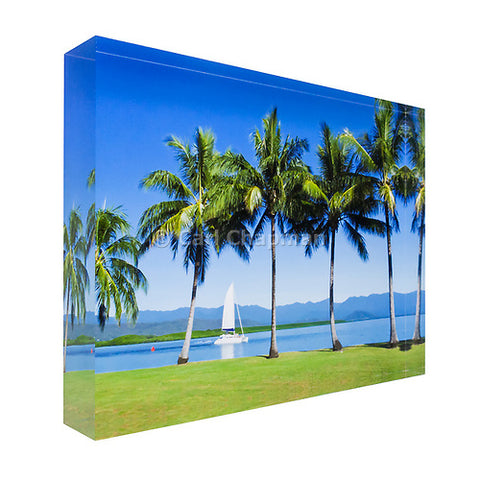 1136 Sailing boat passing palm trees great barrier reef acrylic block photography print