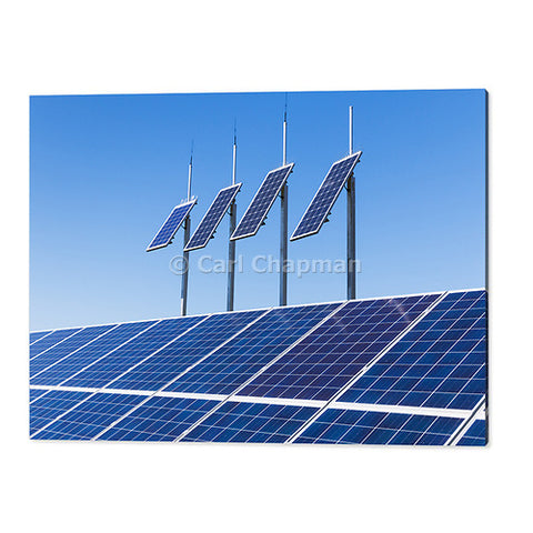1853 solar panel electricity energy array under blue sky acrylic wall art photo print