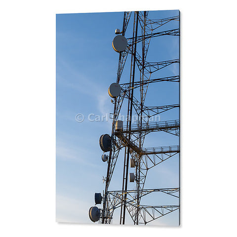 1272 Microwave dish antenna on broadcast tower at sunrise acrylic wall art photo print