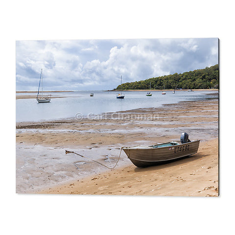 1481 Tinnie dinghy on beach shore at low tide at 1770 acrylic wall art photo print