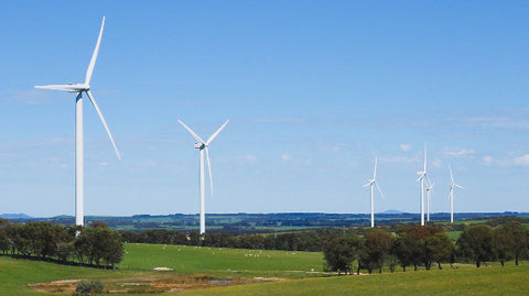 V0108 Wind turbines from a wind farm in a rural paddock in the countryside - Stock Video