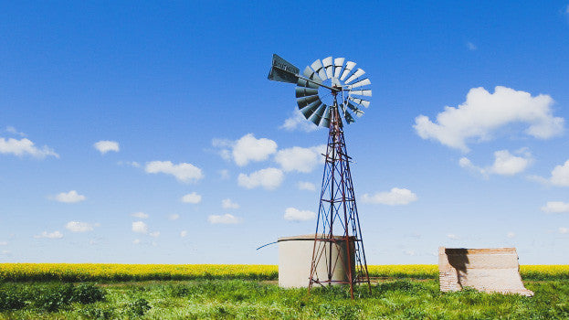 V0117 Windmill and water tank in field of canola - Stock Video