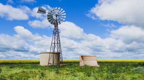 V0119 Windmill and water tank in field of canola - Stock Video