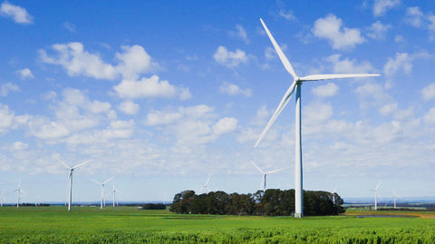 V0207 wind turbine from a wind farm in a rural paddock in the countryside - Stock Video