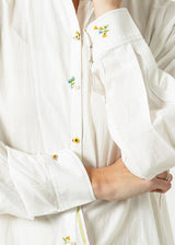 Pleated Sleeve Tunic in White