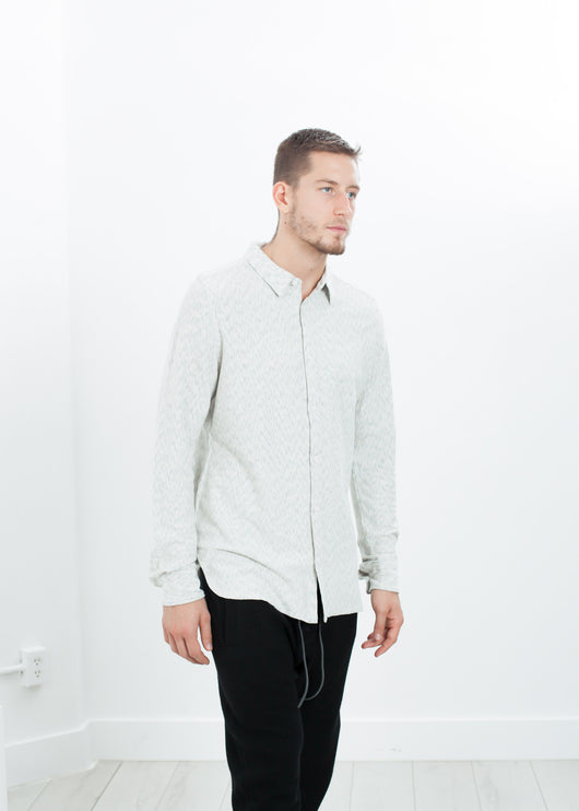 Kasuri Jersey Button-Up in Ivory/Black