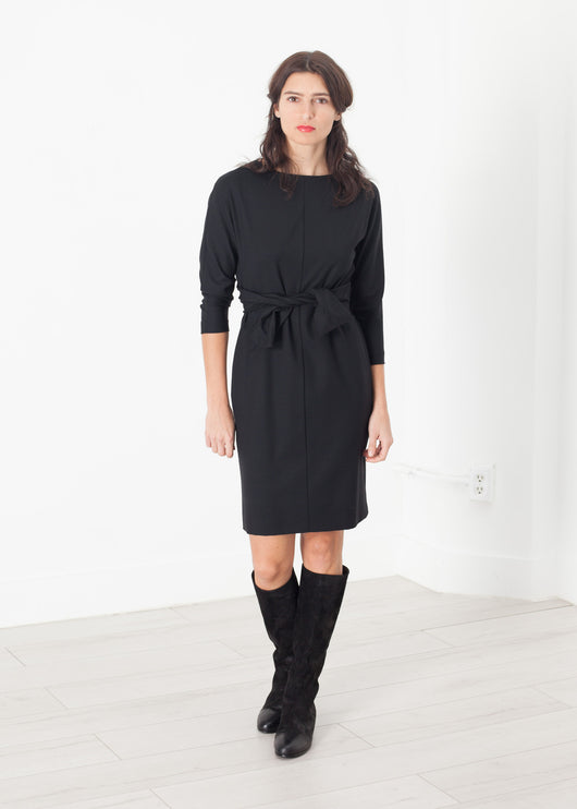 Tie Waist Dress in Black