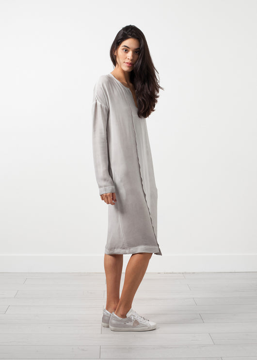 Long Sleeve Silk Dress