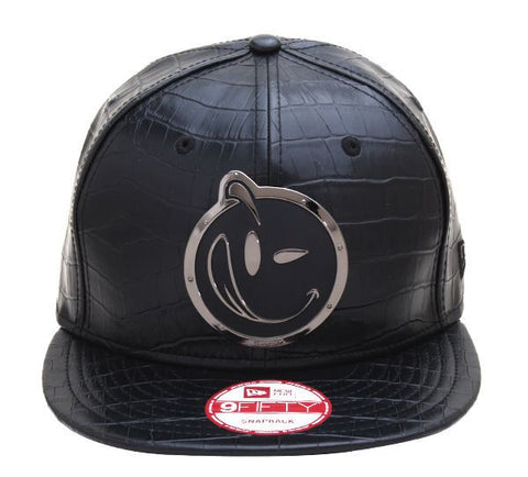 Yums x New Era 'Croc Leather' Metal Face Snapback - Black / Black