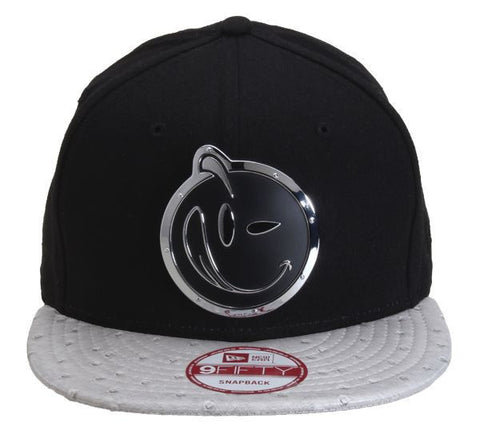 Yums x New Era 'Ostrich Leather' Metal Face Snapback - Black / Grey
