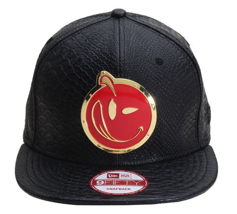 Yums x New Era 'Snakeskin Leather' Metal Face Snapback - Black / Black