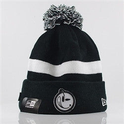 Yums X  New Era Classic 'Outline Stripe' Bobble Beanie Hat - Black / White