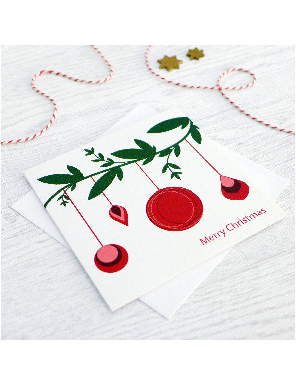 Pack of 5 Bauble Branch Christmas Cards