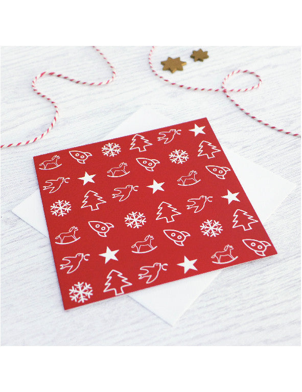 Pack of 5 Red Toy Collection Christmas Cards