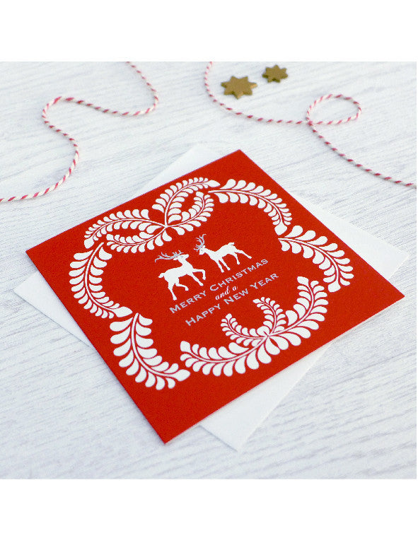 Pack of 5 Reindeer Wreath Christmas Cards