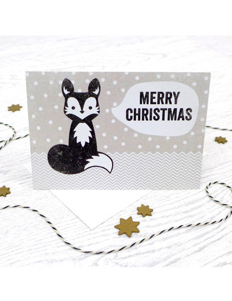 Pack of 5 Merry Christmas Foxy Cards