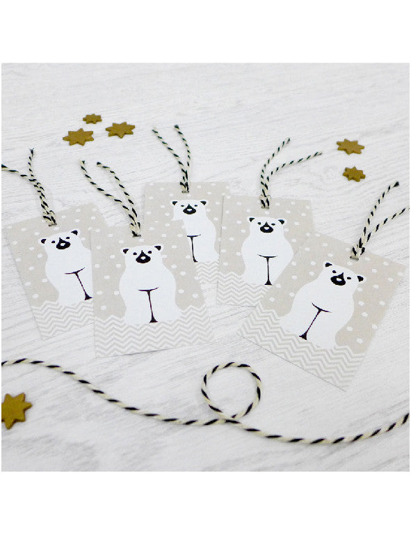 Pack of 5 Polar Bear Christmas Tags