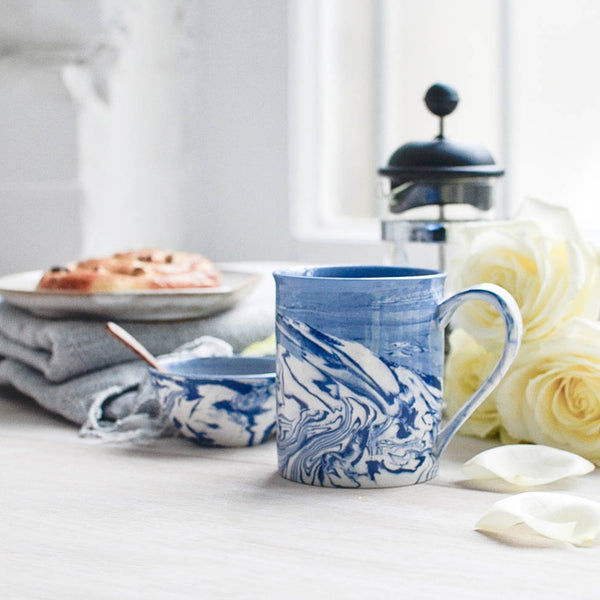 Marble Ceramic Tea Mug, Blue and White, Coffee Cup - Nom Living
