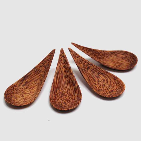 Coconut Wood Tear Drop Canape Spoon, Set of Four - Nom Living