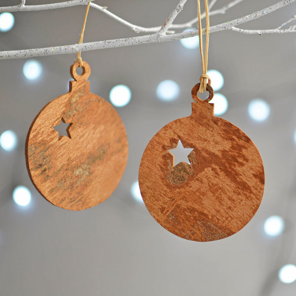 Cinnamon Wood Christmas Tree Decoration Bauble - Nom Living