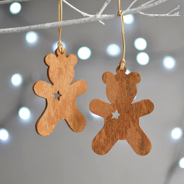 Cinnamon Wood Christmas Tree Decoration Teddy Bear - Nom Living