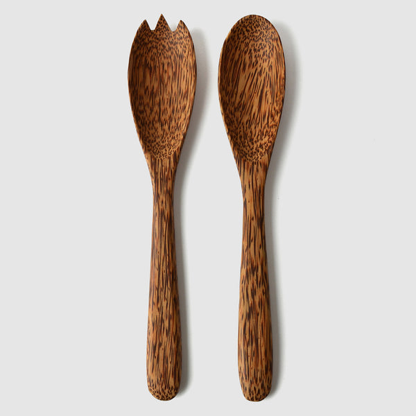 Coconut Wood Classic Salad Servers - Nom Living
