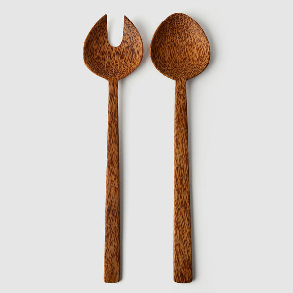 Coconut Wood Round Salad Servers - Nom Living