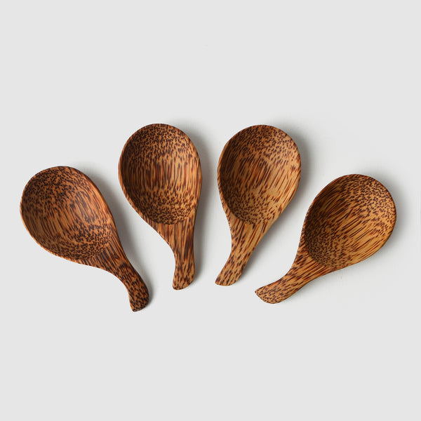Coconut Wood Round Scoop, Set of Four - Nom Living