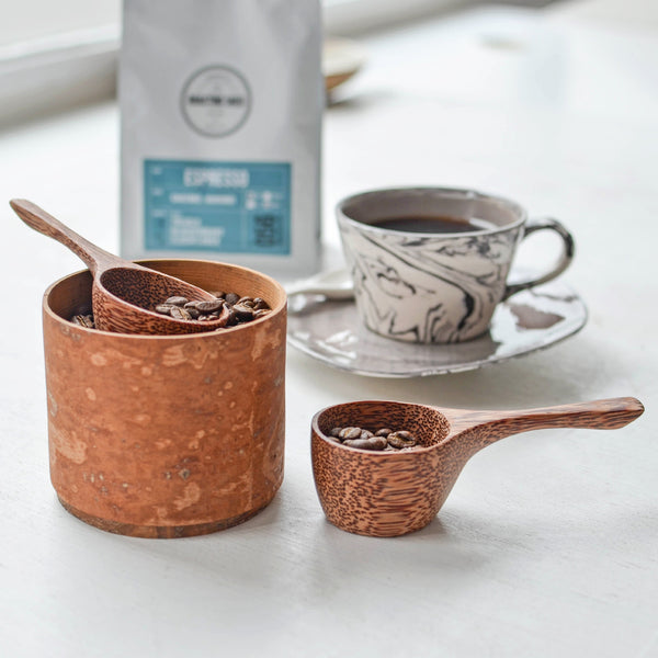 Coconut Wood Coffee Scoop, Large, in Use - Nom Living