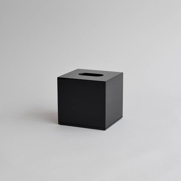 Square Tissue Box, Shiny Black