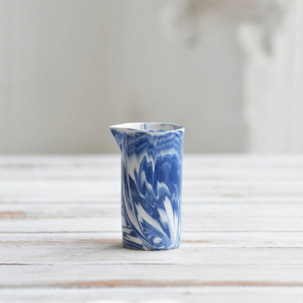 Marbled Small Jug, Blue & White - Nom Living