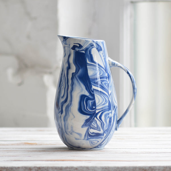 Marbled Water Jug, Blue & White - Nom Living