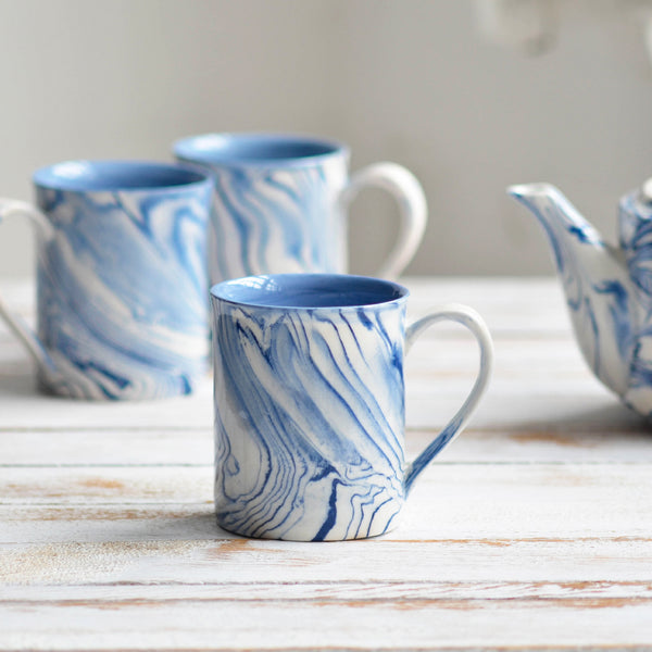 Nom Living Ceramic Tea Mug Marbled Blue and White