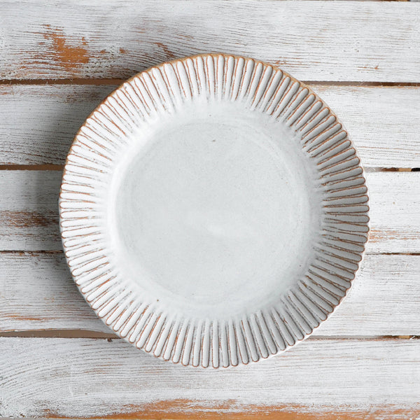 Stoneware Organic Fluted Plate, Large - Nom Living