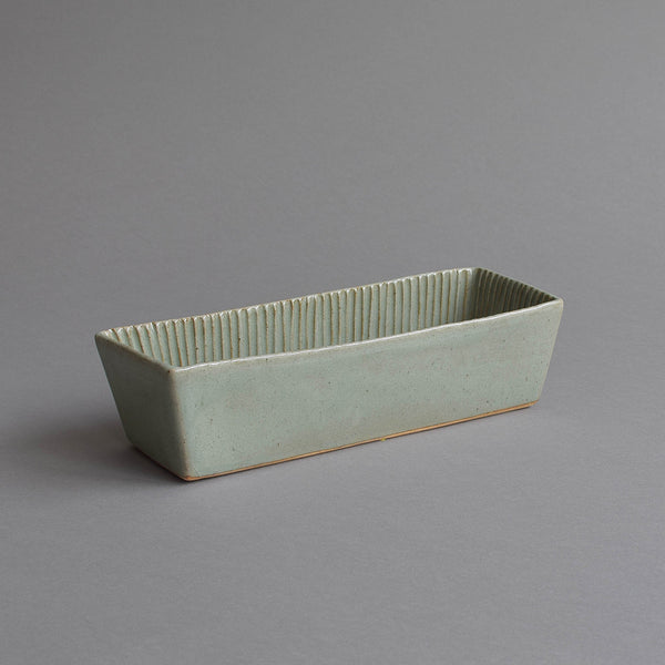 Rectangular Fluted Loaf Mould, Large Celadon Grey