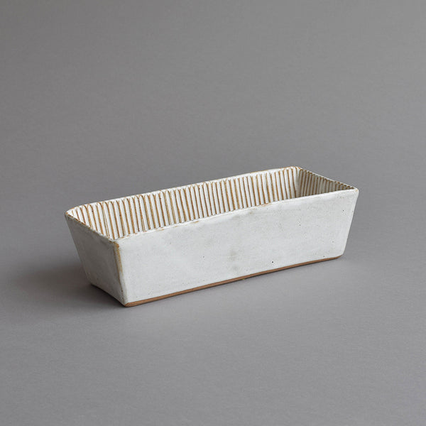 Rectangular Fluted Loaf Mould, Large Snow White