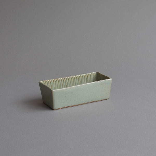 Rectangular Fluted Loaf Mould, Small Celadon Grey