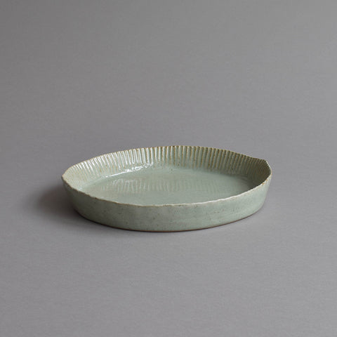 Fluted Pie Mould, Celadon Grey