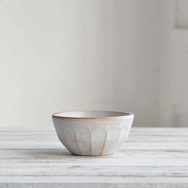 Stoneware ceramic Facet Collection, Small Side Bowl, Snow White - Nom Living