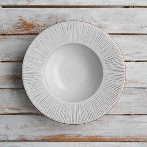 Fluted Forest Deep Dinner Plate, Unglazed Rim